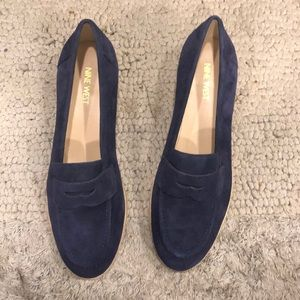 Nine West blue suede loafers. Size 9